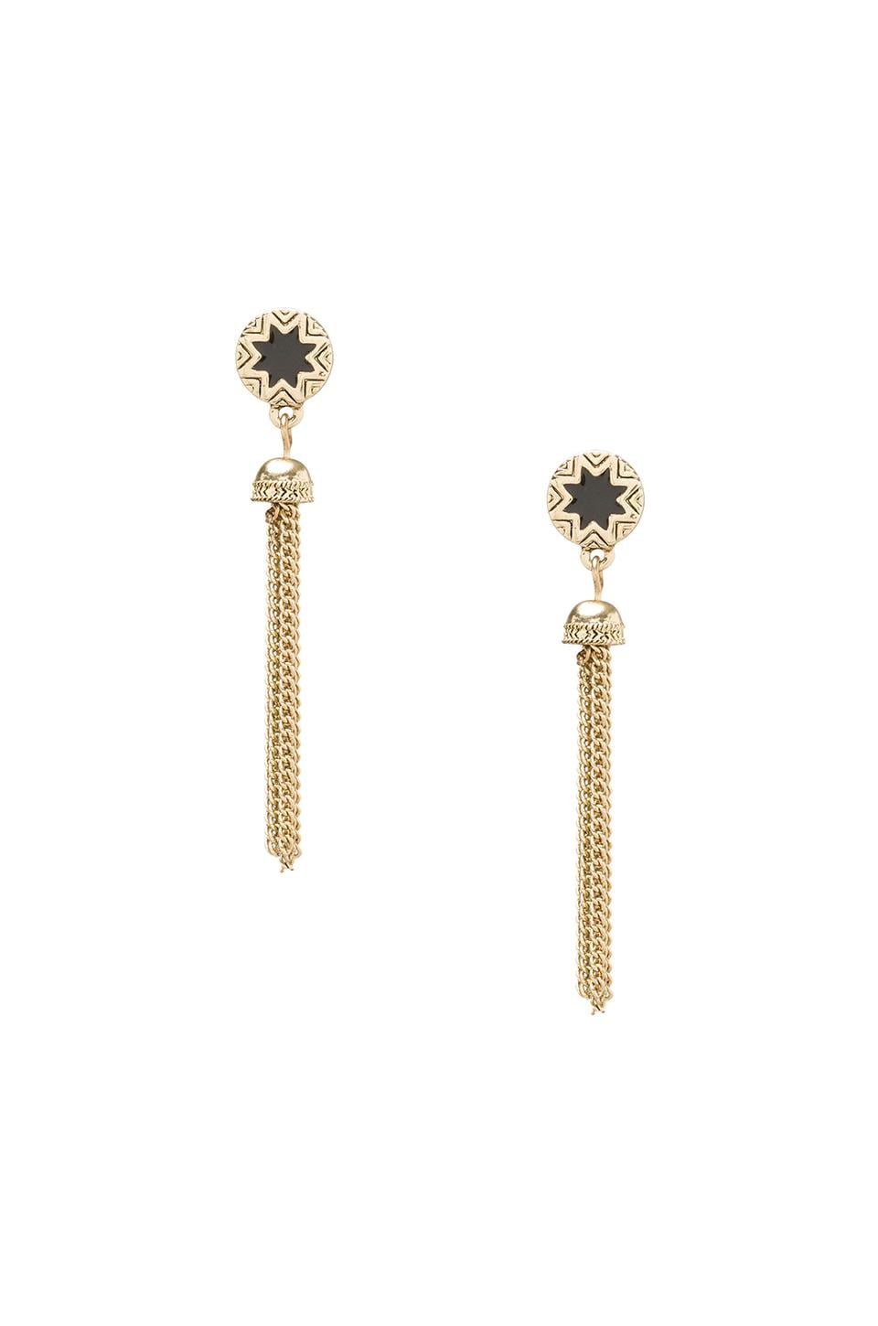 House of Harlow 1960 House of Harlow Sunburst Tassel Earrings Enamel in Gold Tone Black