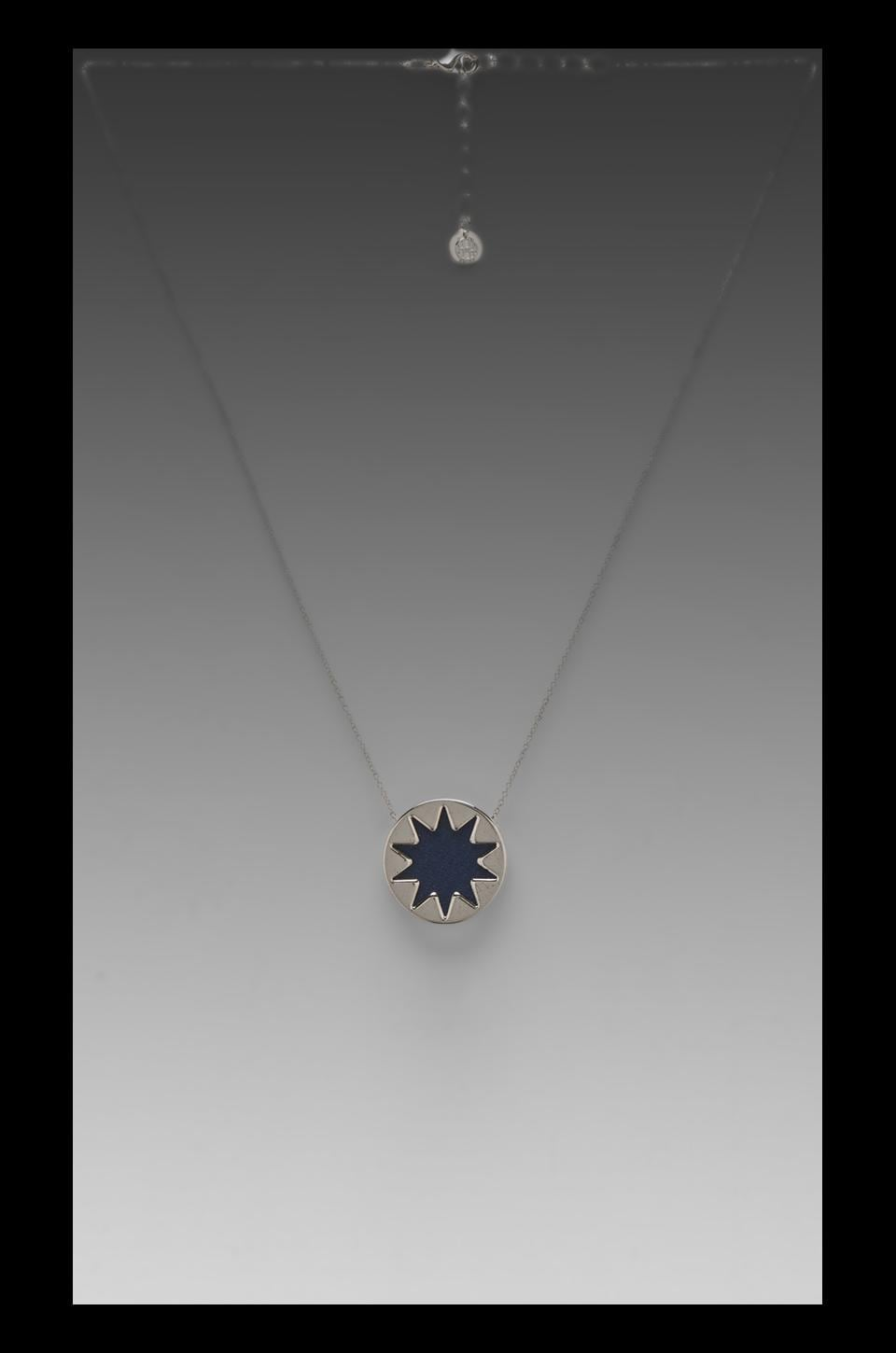 House of Harlow 1960 House of Harlow Mini Sunburst Pendant Necklace Leather in Silver Tone Navy