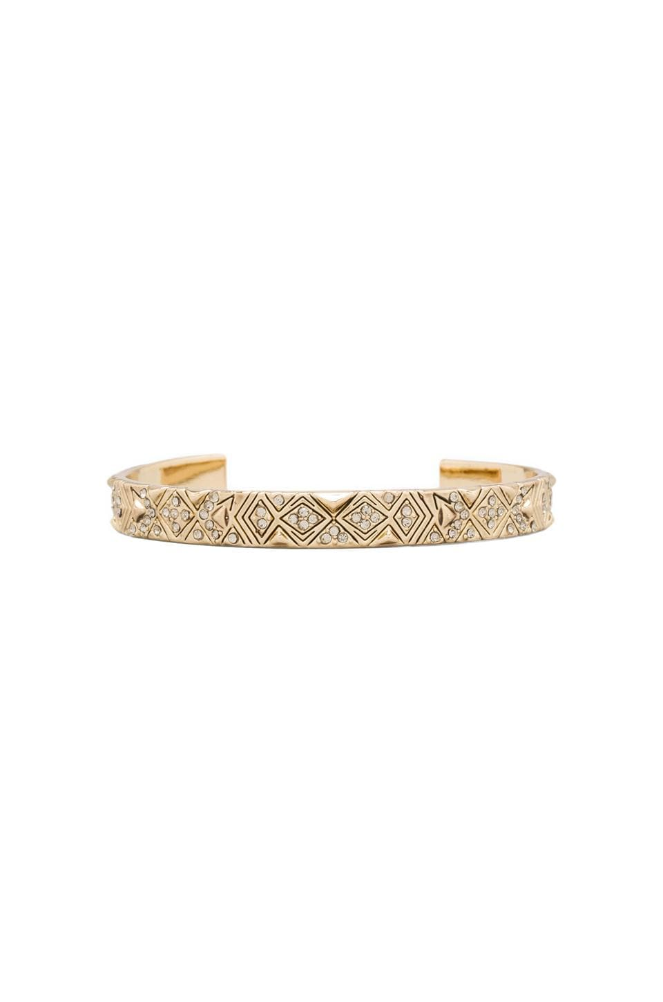 House of Harlow Engraved Kilim Cuff in Gold