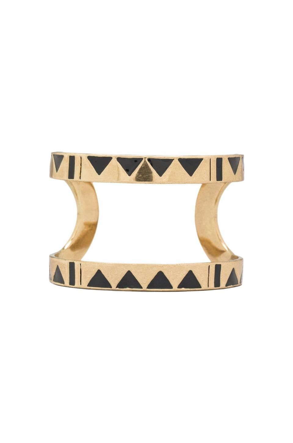 House of Harlow 1960 House of Harlow Three Caves Cuff in Gold Tone Navy