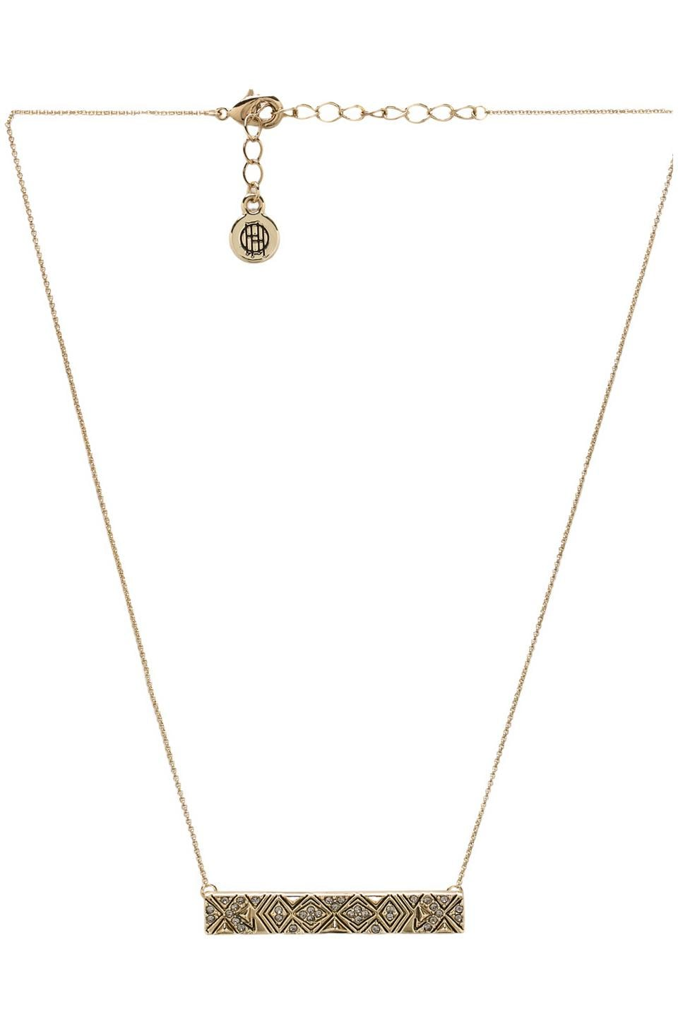 House of Harlow Engraved Kilim Bar Necklace in Gold