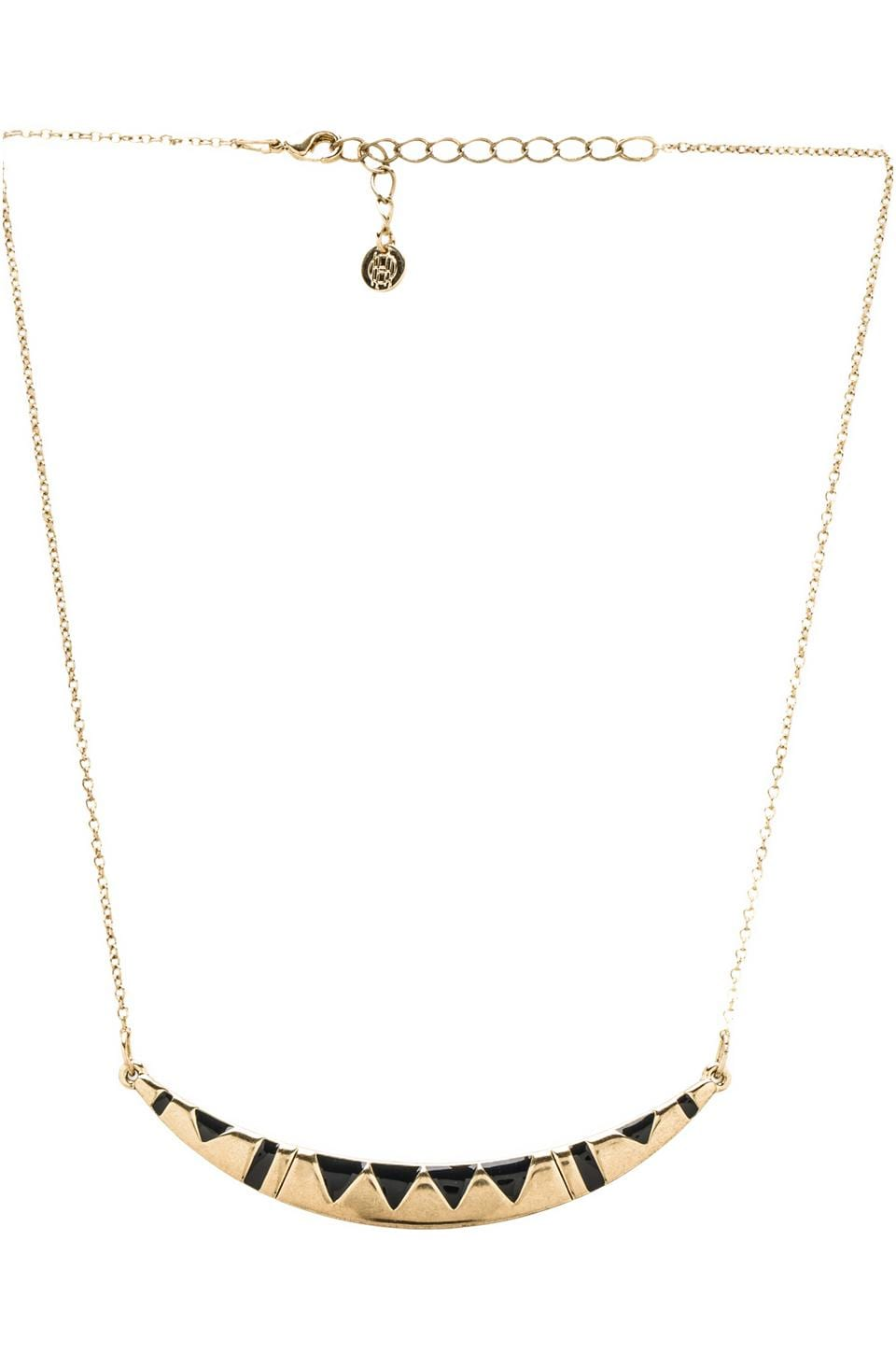 House of Harlow 1960 House of Harlow Three Caves Pendant Necklace in Gold Tone Navy