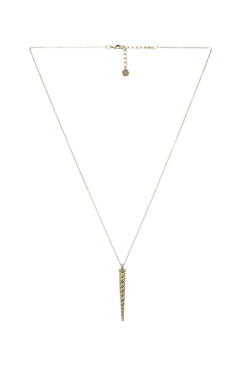 House of Harlow 1960 House of Harlow Alicorn Pendant Necklace in Gold Tone