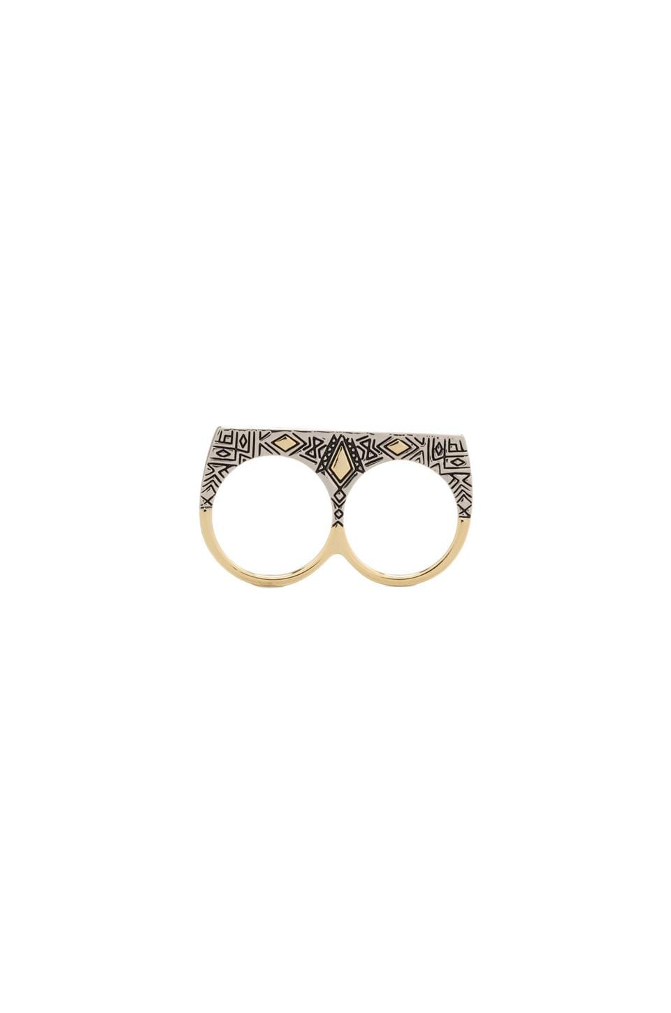 House of Harlow 1960 House of Harlow Engraved Kilim Sliver Ring in Two Tone
