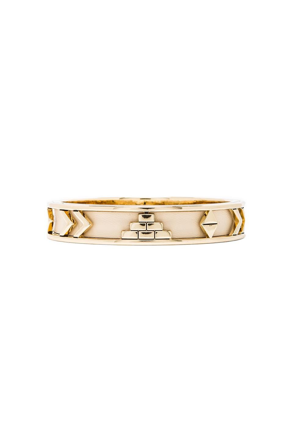 House of Harlow Aztec Bangle in Gold Tone Cream