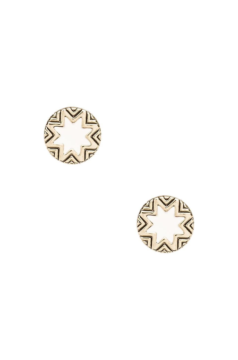 House of Harlow 1960 House of Harlow Mini Sunburst Stud Earrings in Gold Tone Cream
