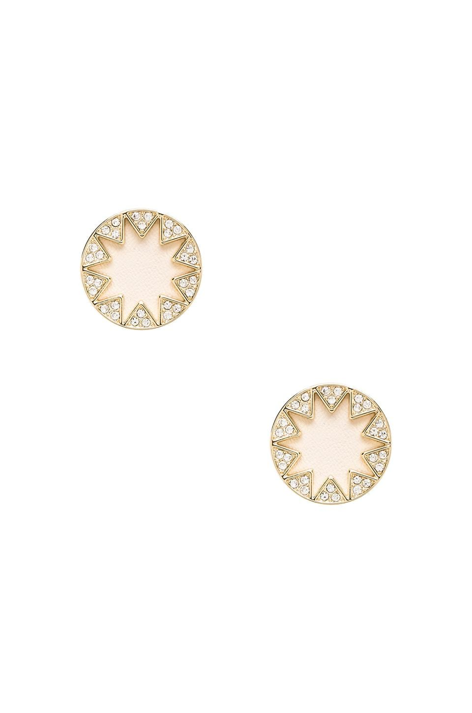 House of Harlow Sunburst Pave Earrings in Gold Tone Cream