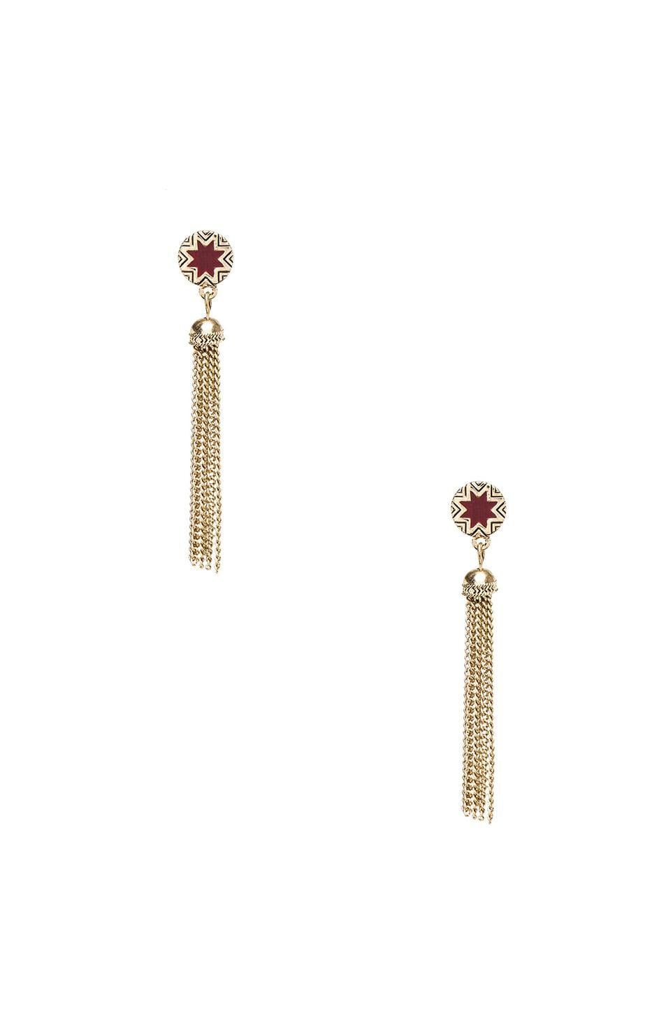 House of Harlow 1960 House of Harlow Sunburst Tassel Earrings in Gold Tone Cranberry