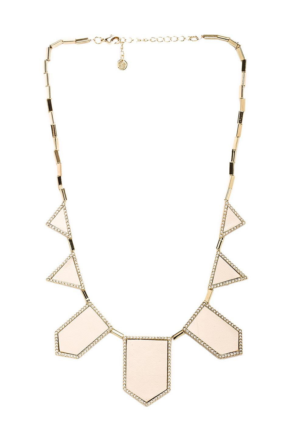 House of Harlow Pave Five Station Necklace in Gold Tone Cream
