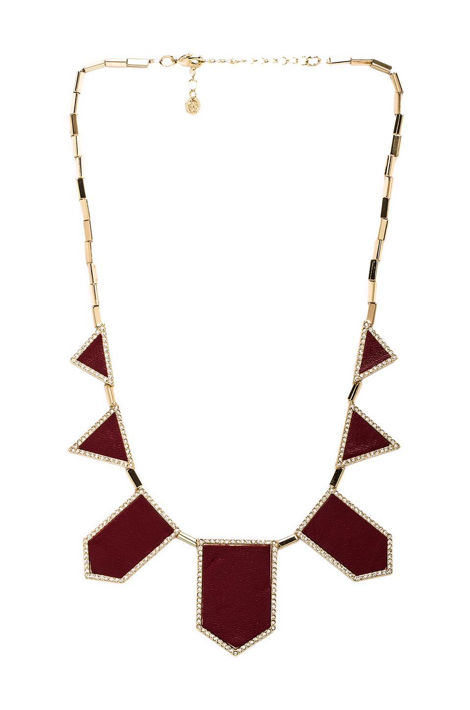 House of Harlow Pave Five Station Necklace in Gold Tone Cranberry