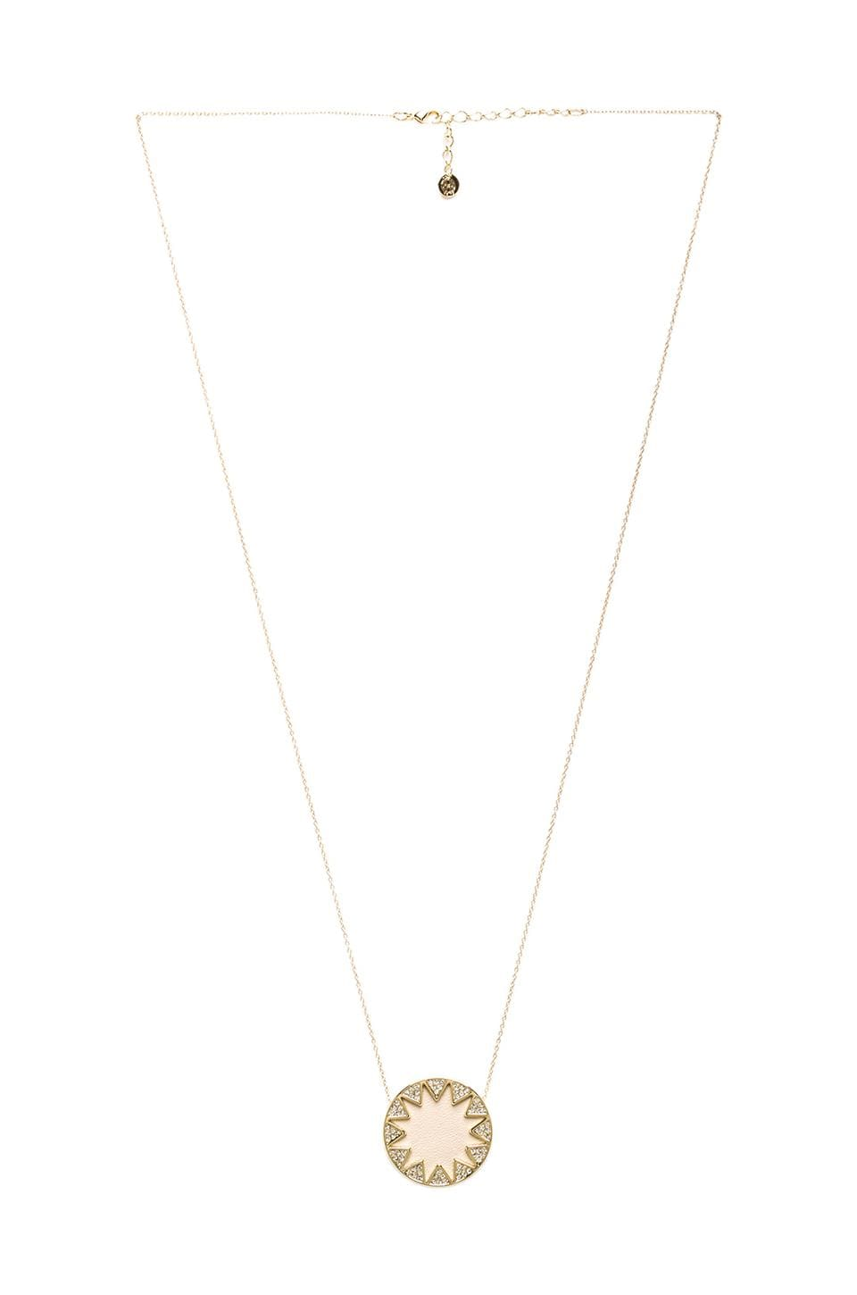 House of Harlow Medium Pave Sunburst Necklace in Gold Tone Cream