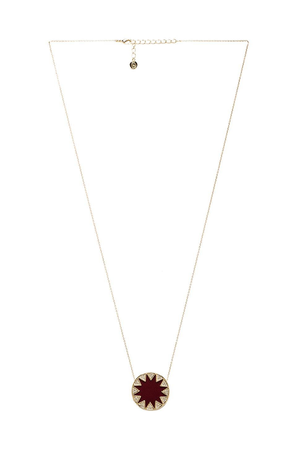 House of Harlow Medium Pave Sunburst Necklace in Gold Tone Cranberry
