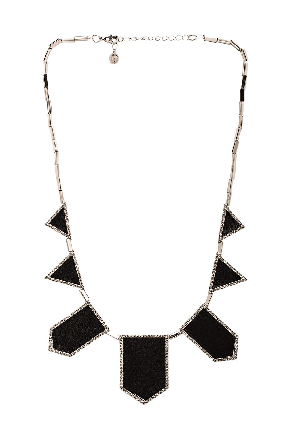 House of Harlow Pave Five Station Necklace in Gunmetal Tone Black