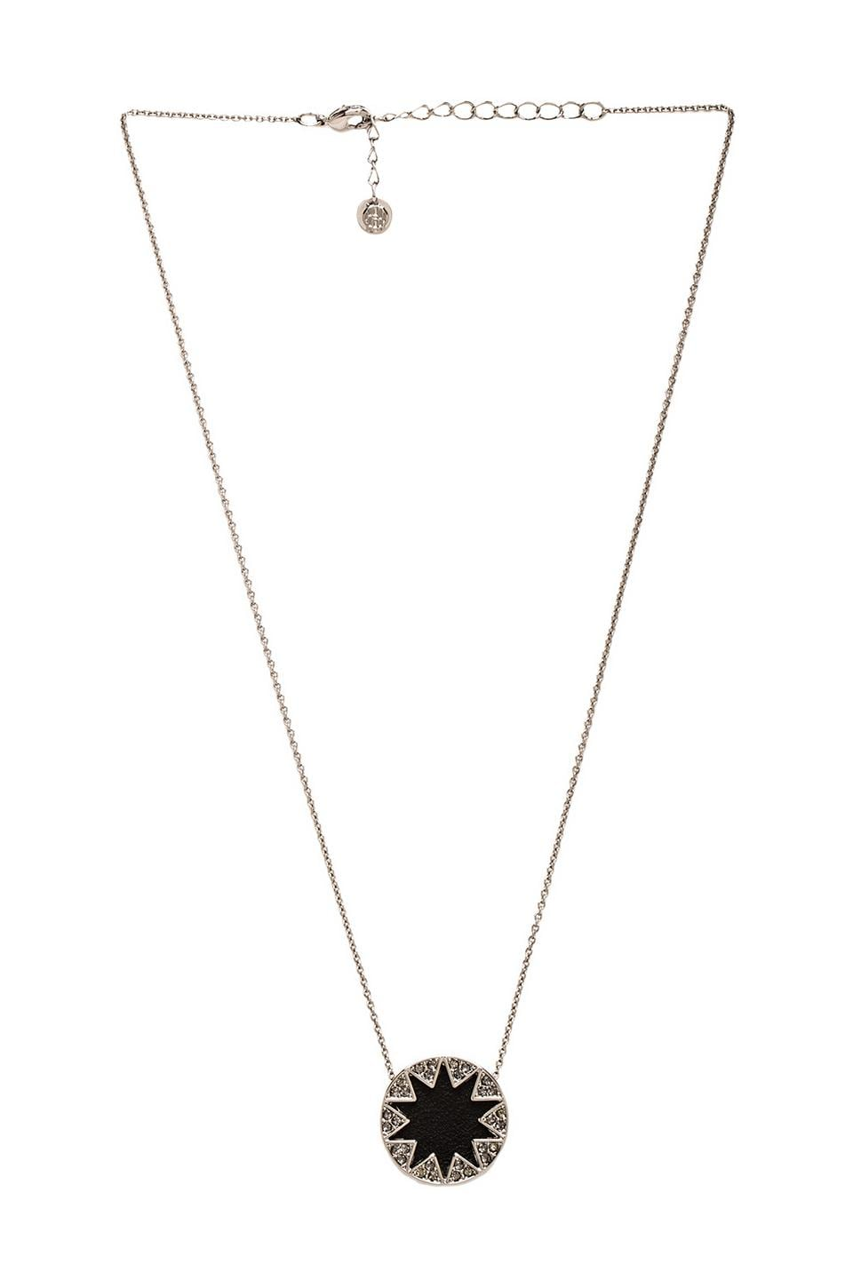 House of Harlow Mini Pave Sunburst Necklace in Gunmetal Tone Black