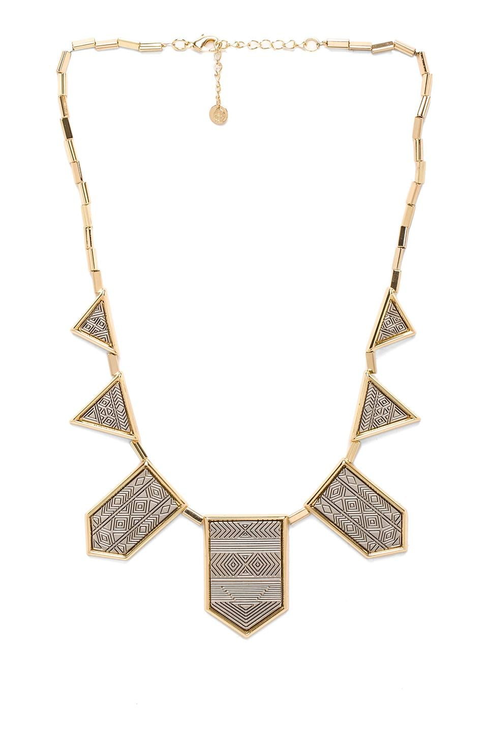 House of Harlow Engraved Classic Station Necklace in Gold/Silver