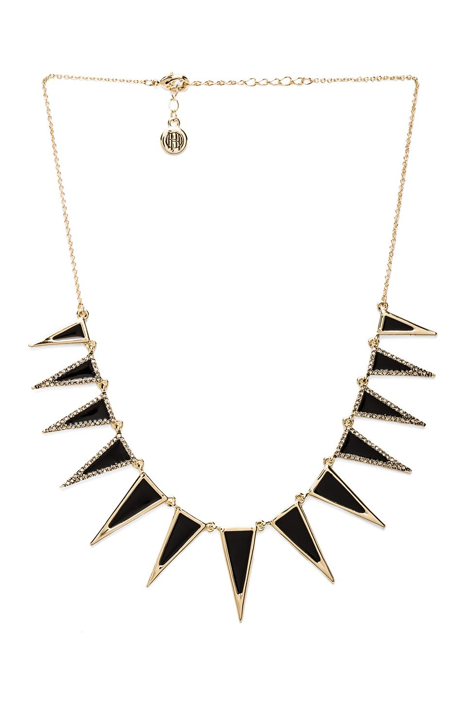 House of Harlow Enameled Echelon Collar Necklace in Gunmetal