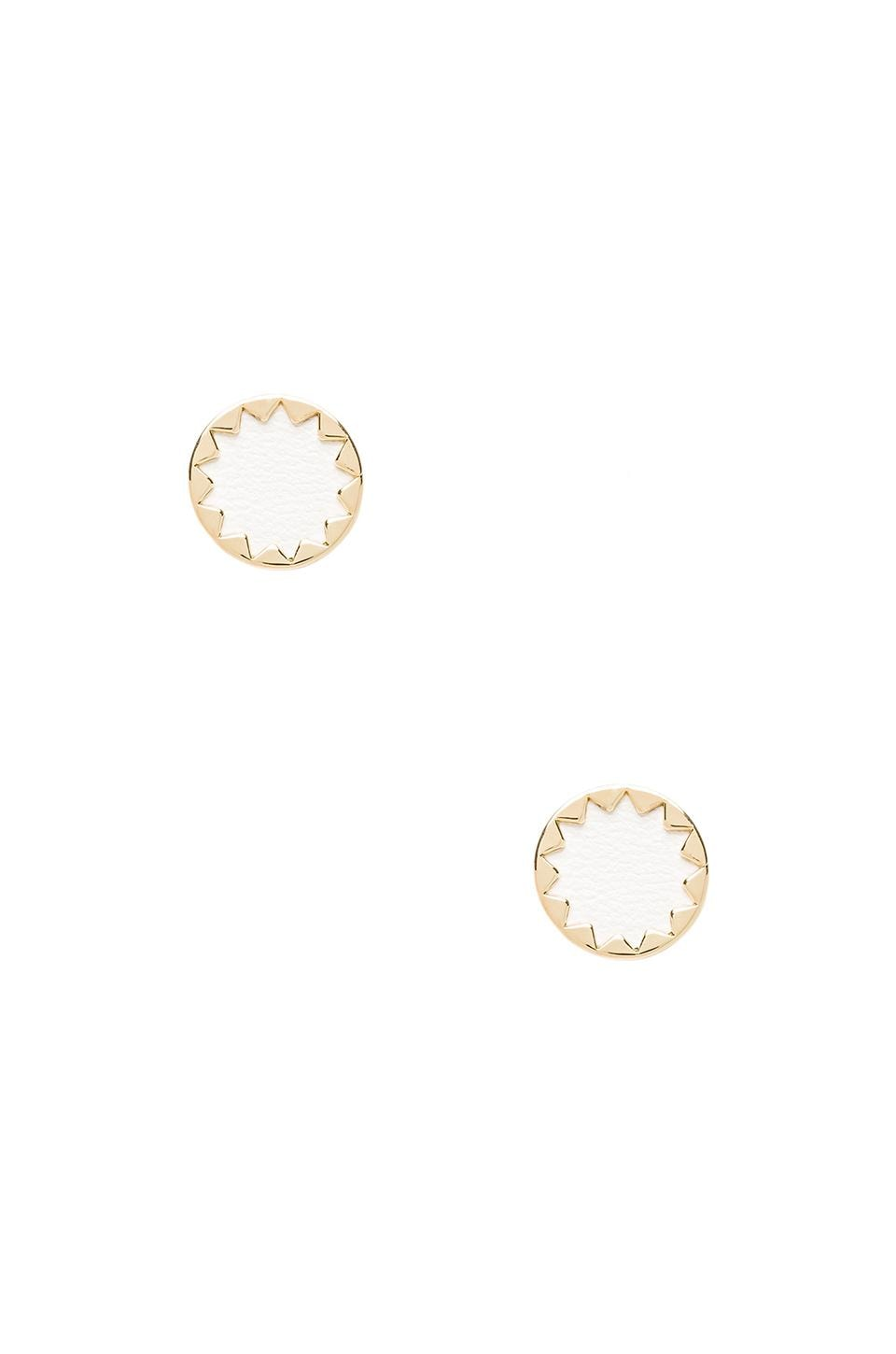 House of Harlow 1960 House of Harlow Sunburst Button Earrings in White