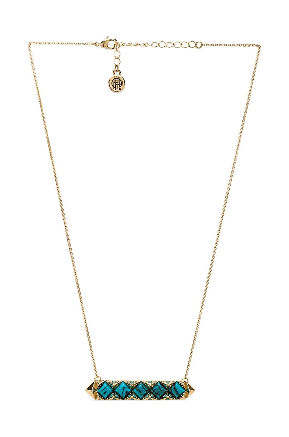 House of Harlow 1960 House of Harlow Mykonos Bar Necklace in Gold & Turquoise
