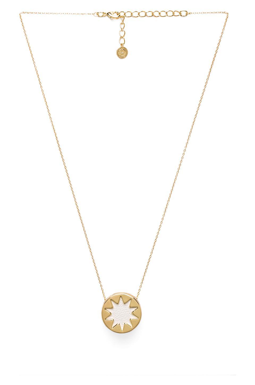 House of Harlow Mini Sunburst Pendant Necklace in White