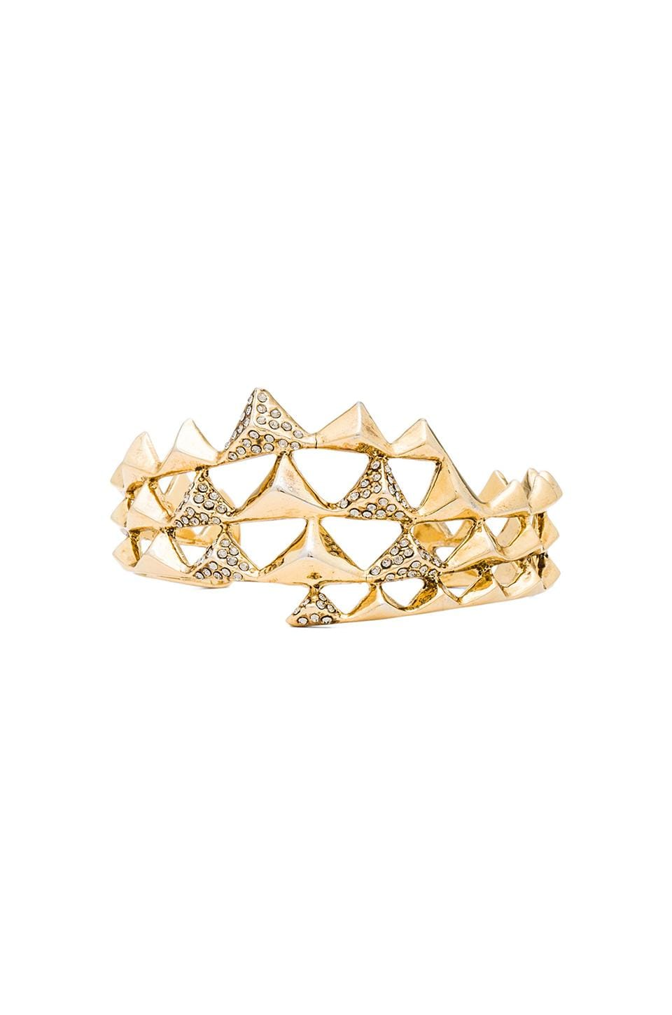 House of Harlow 1960 House of Harlow Pyramid Wave Pave Cuff in Gold