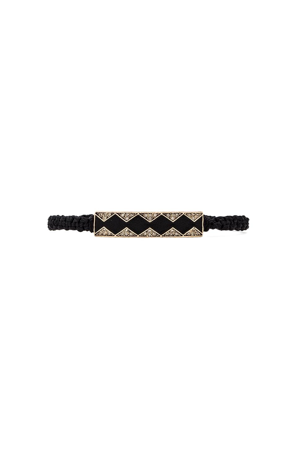 House of Harlow 1960 House of Harlow Leather Diamondhead Macrame Bracelet in Gold & Black