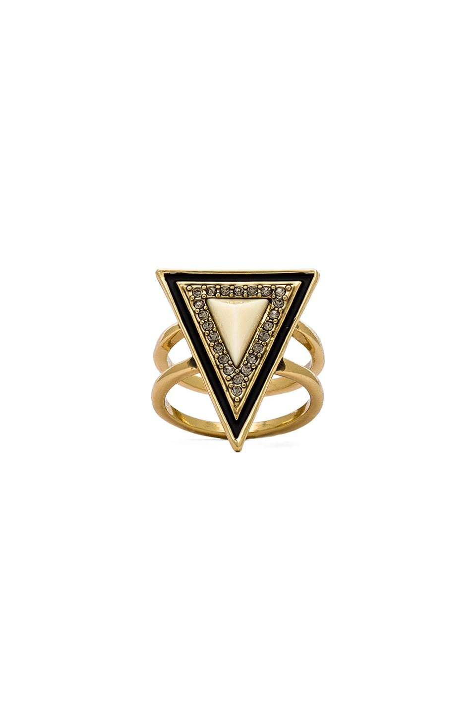 House of Harlow 1960 House of Harlow Teepee Triangle Ring in Gold & Ivory
