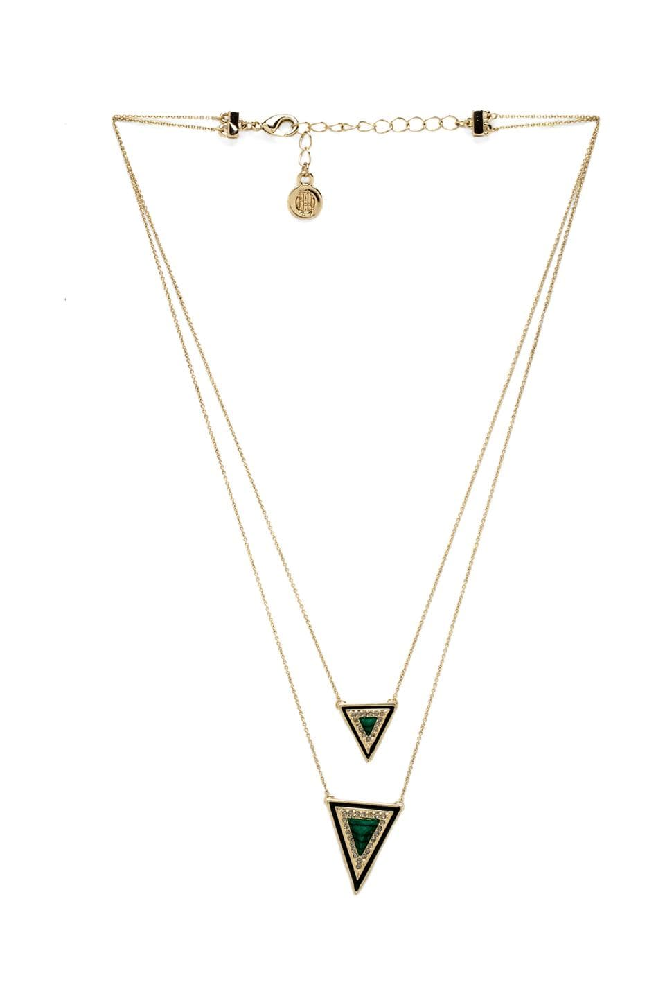 House of Harlow 1960 House of Harlow Teepee Triangle Necklace in Gold & Malachite