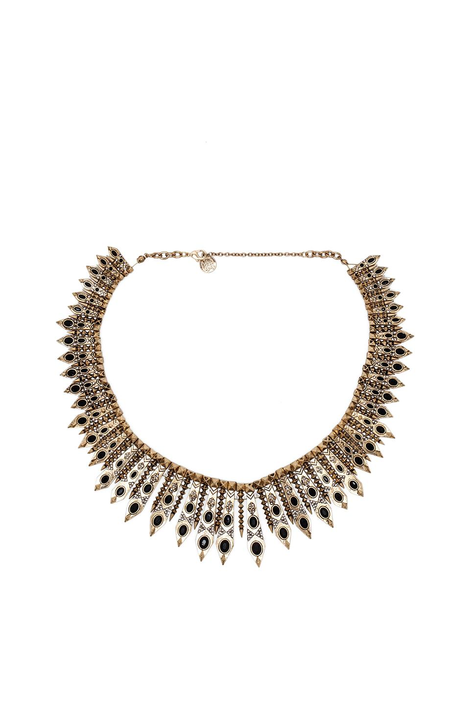 House of Harlow 1960 House of Harlow Gypsy Feather Necklace in Gold & Black