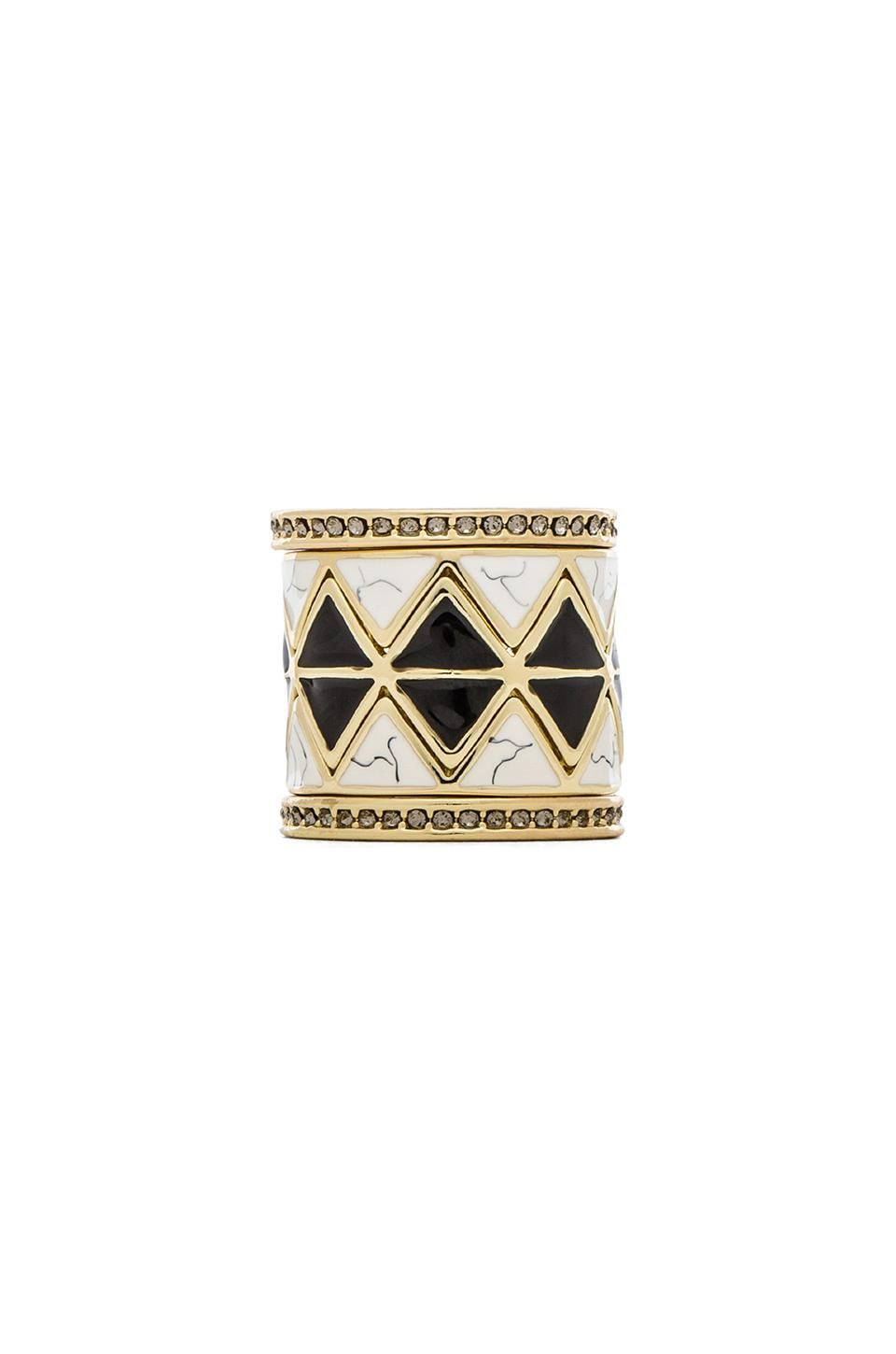 House of Harlow 1960 House of Harlow Reflector Ring Stack in Black & Howlite