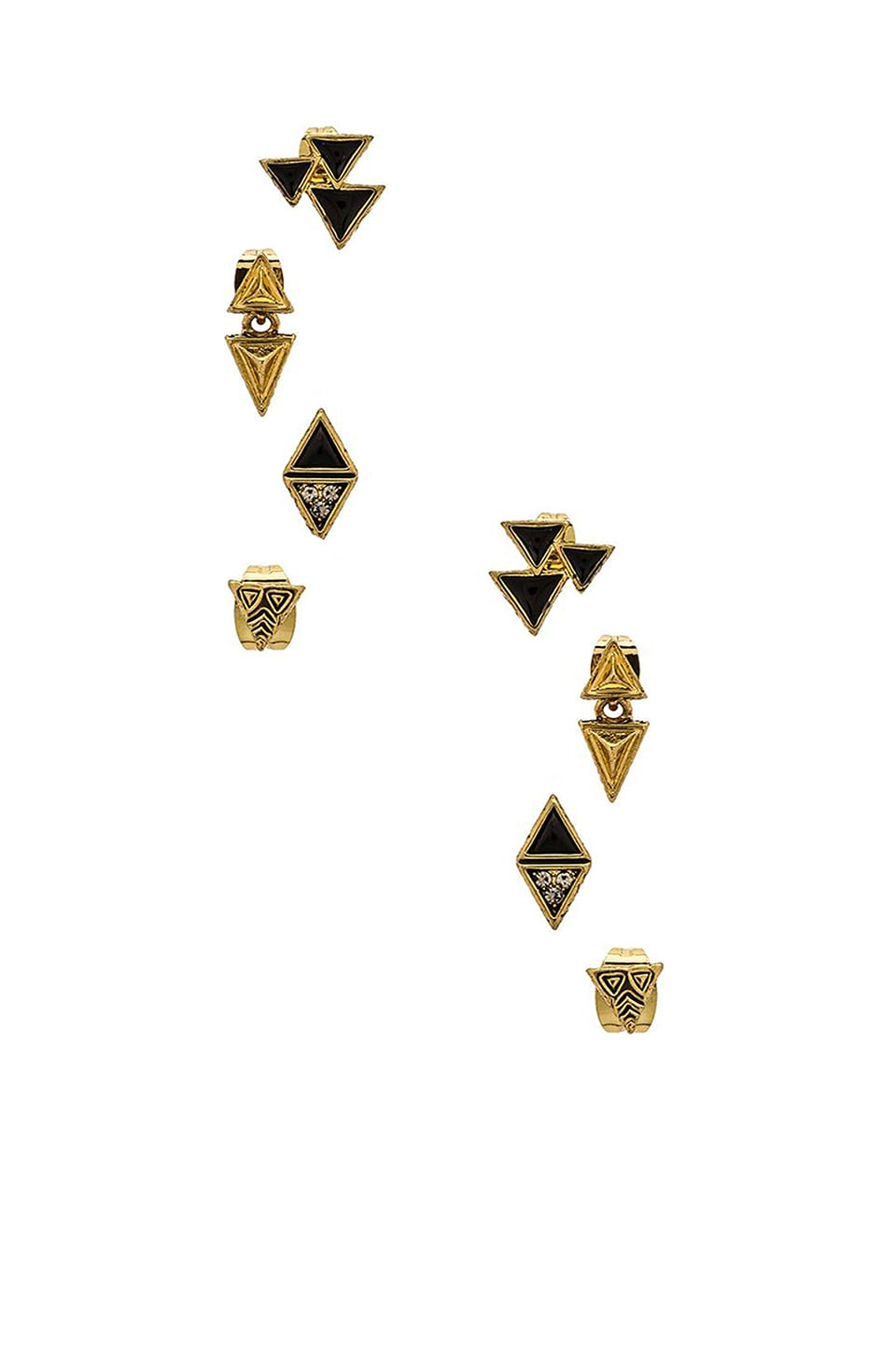 House of Harlow 1960 House of Harlow Tessellation Stud Earring Set in Gold & Black