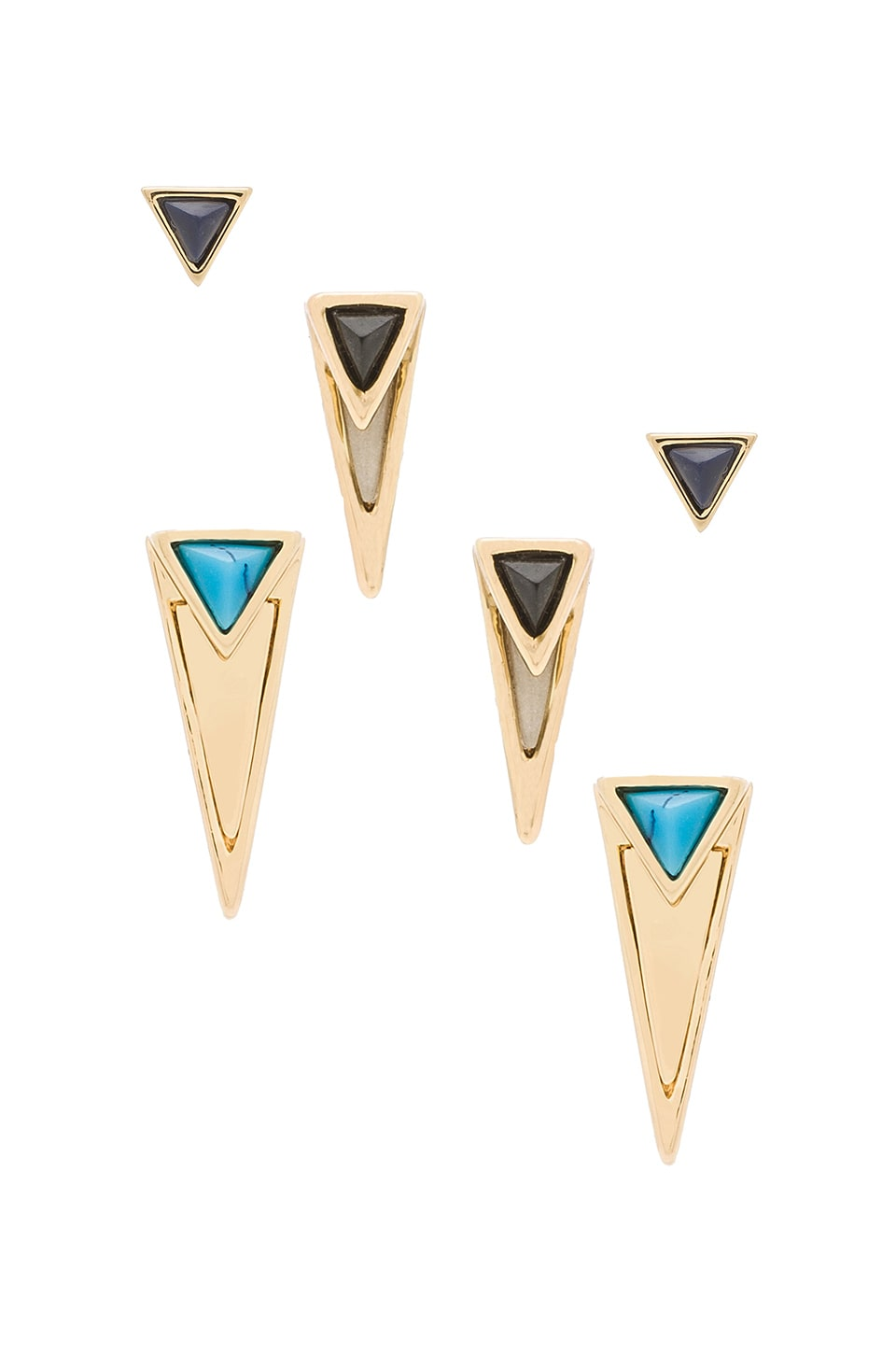 House of Harlow 1960 House of Harlow Triangle Triad Stud Set in Black & Pearl & Turquoise