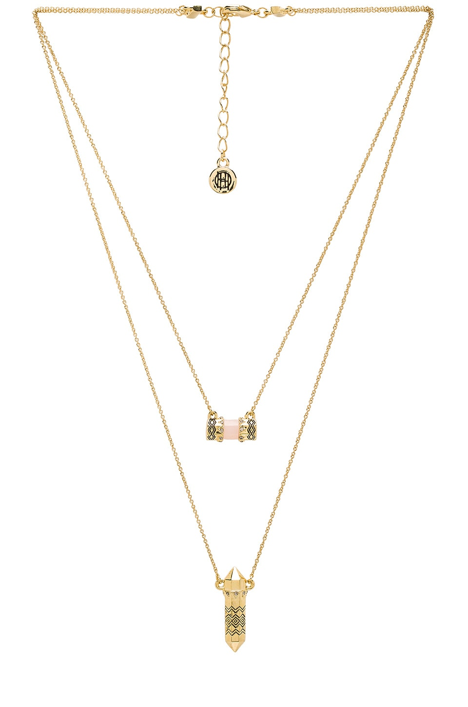House of harlow 1960 house of harlow prana double pendant necklace house of harlow 1960 house of harlow prana double pendant necklace in gold rose quartz mozeypictures Image collections