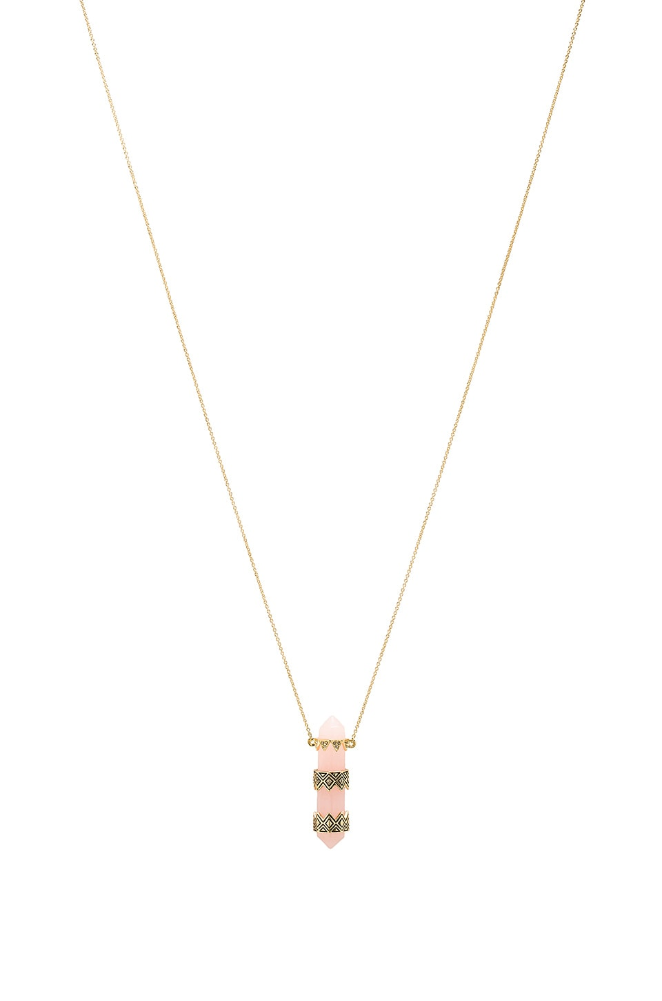 House of Harlow 1960 House of Harlow Prana Pendant Necklace in Gold & Rose Quartz