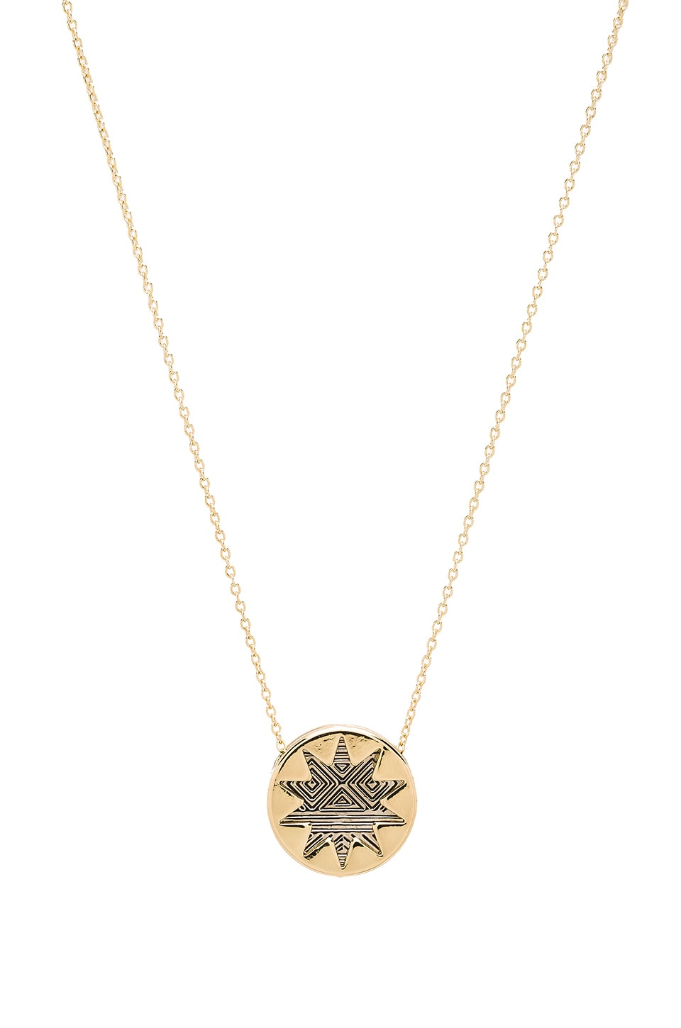 House of Harlow 1960 House of Harlow Engraved Mini Sunburst Necklace in Gold/Silver