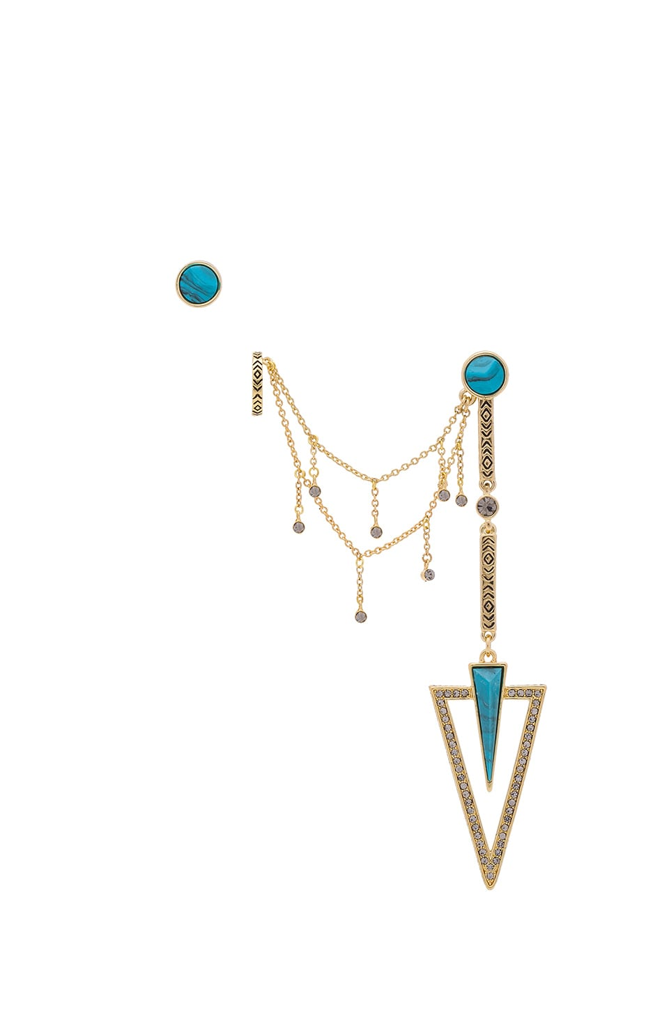 House of Harlow 1960 House of Harlow South Point Statement Earrings in Gold & Turquoise