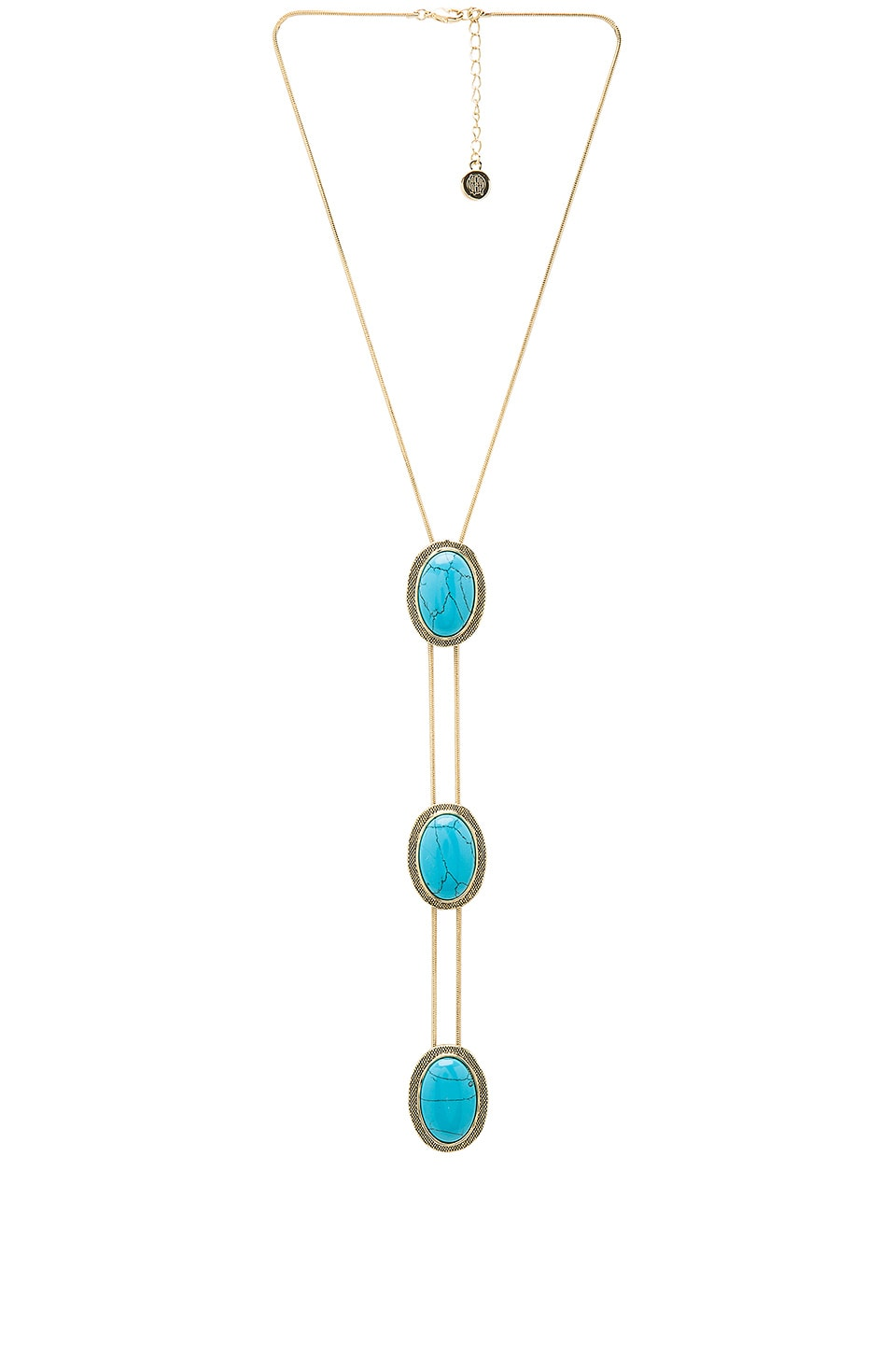 House of Harlow 1960 Tanta 3 Tier Bolo Pendant in Gold & Turquoise