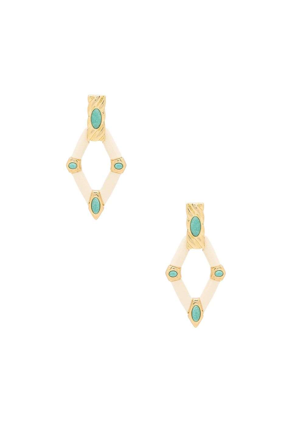House of Harlow 1960 Valda Statement Earrings in Gold & Brazilian Amazonite