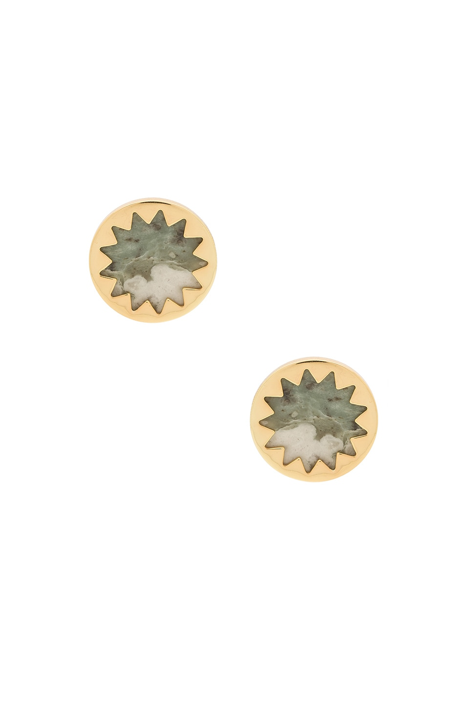 House of Harlow 1960 Sunburst Button Earring in Gold & Lucky Jade