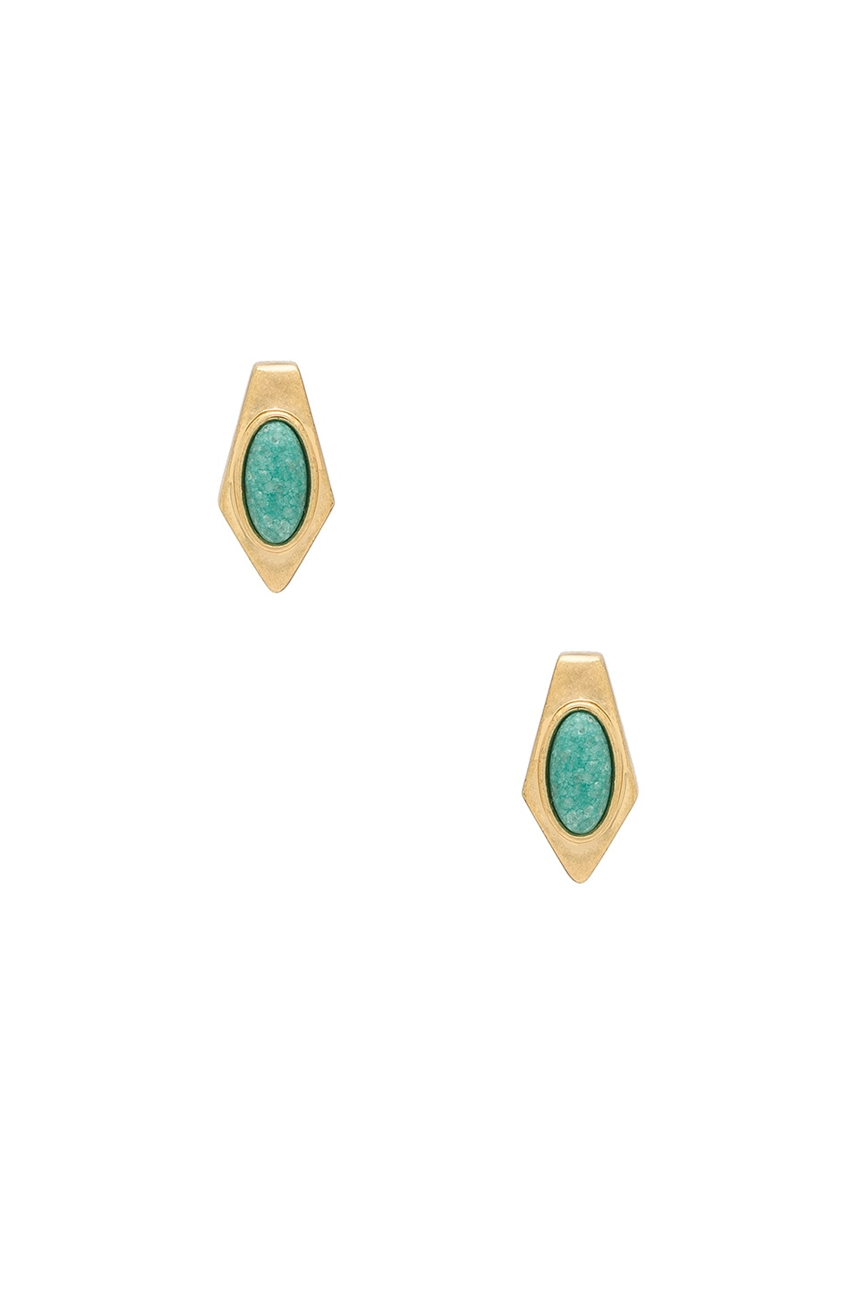 House of Harlow 1960 Valda Stud Earrings in Gold & Brazilian Amazonite