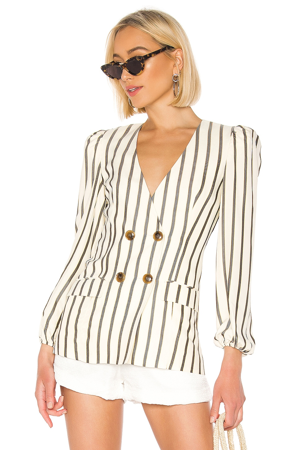 House of Harlow 1960 X REVOLVE Milan Jacket in Ivory & Black Stripe