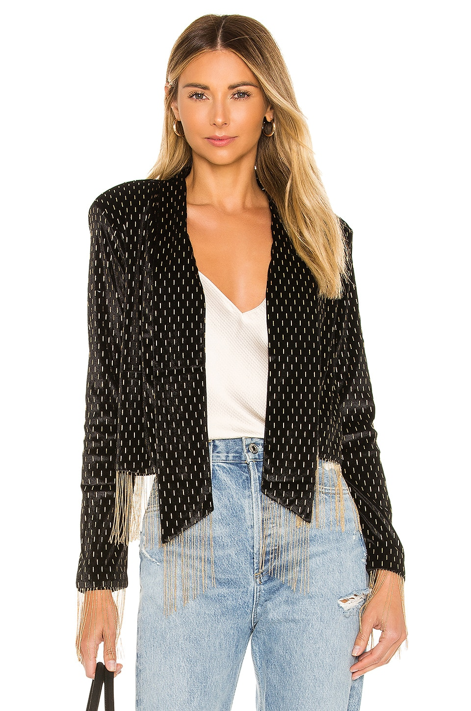 House of Harlow 1960 x REVOLVE Catina Jacket in Noir & Gold