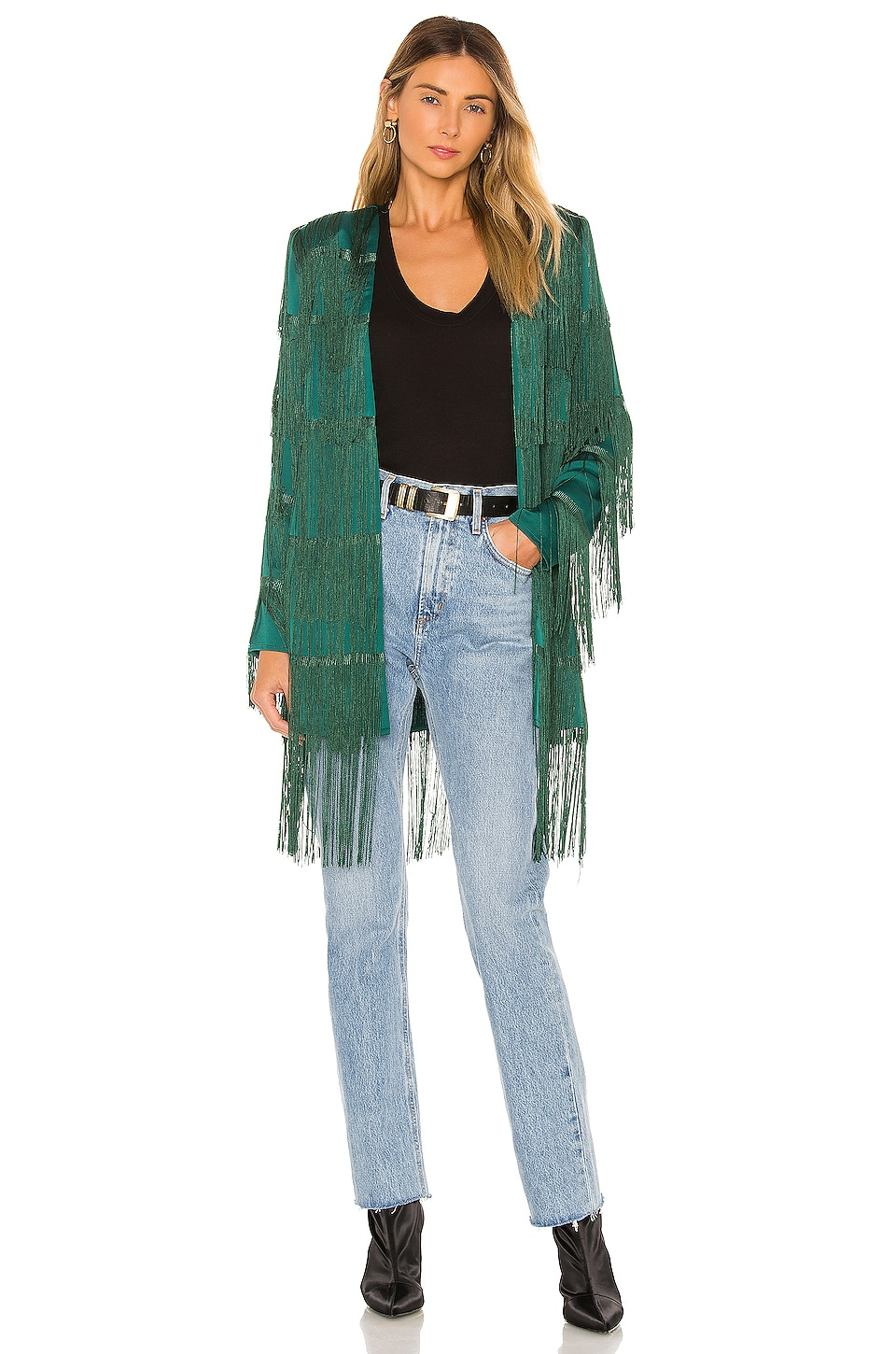 House of Harlow 1960 x REVOLVE Ramsey Fringe Jacket in Emerald