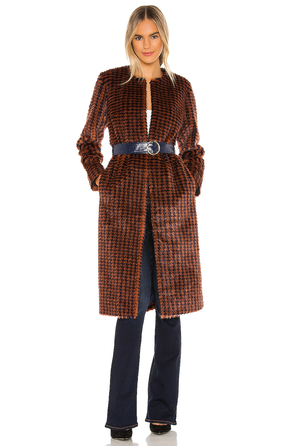 House of Harlow 1960 x REVOLVE Cayson Coat in Navy & Burnt Orange