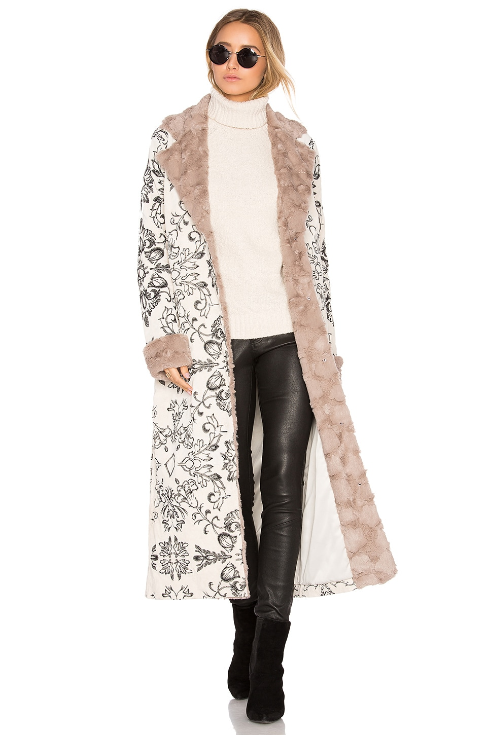 House of Harlow 1960 x REVOLVE Margeaux Coat with Faux Fur in Cream