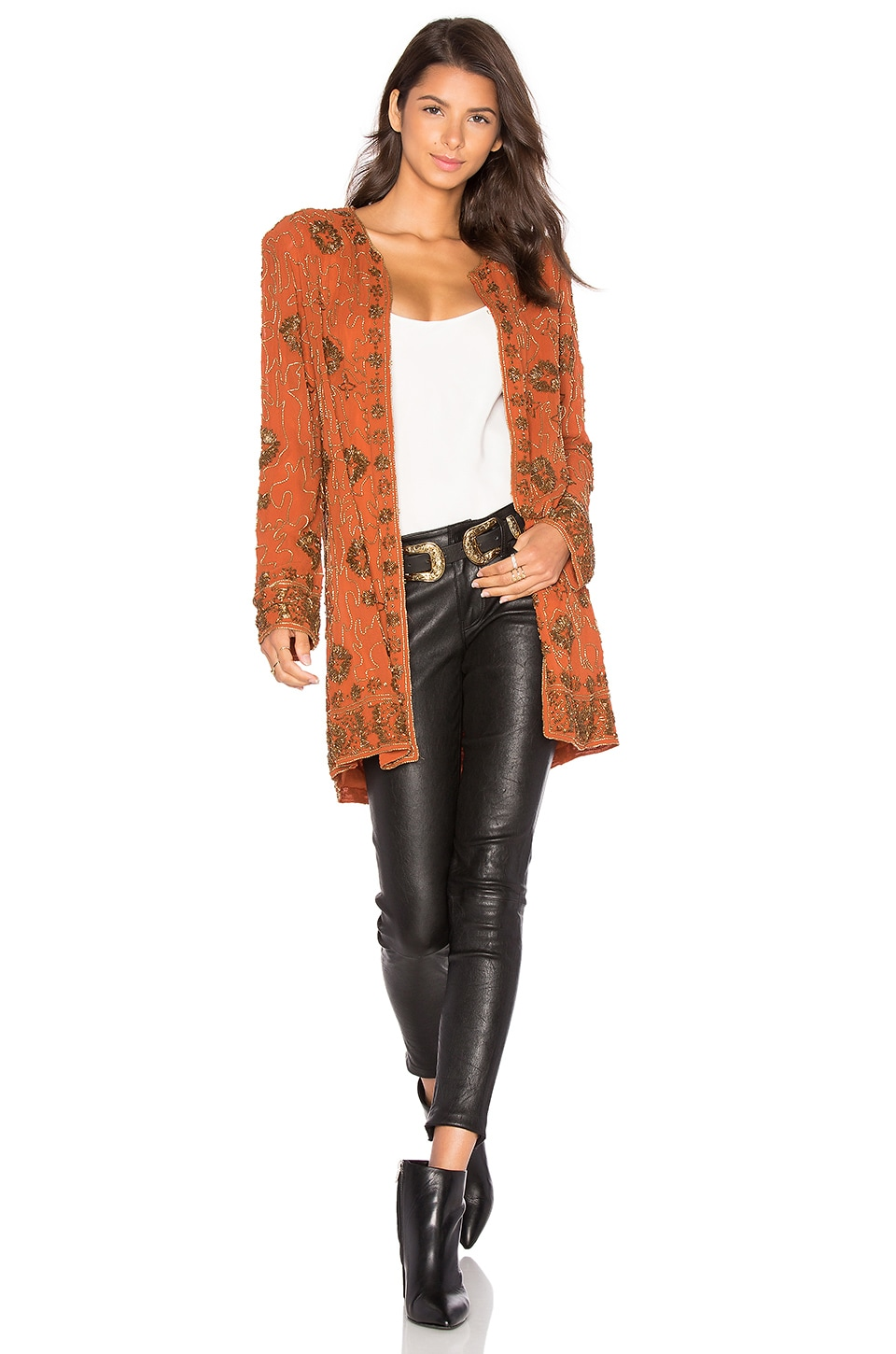 House of Harlow 1960 x REVOLVE Amber Embellished Coat in Burnt Orange