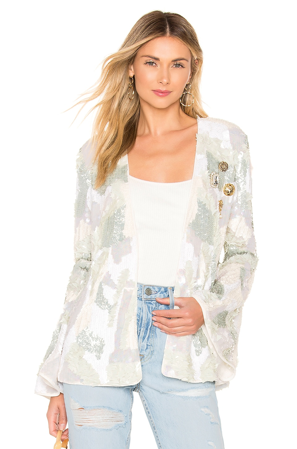 House of Harlow 1960 x REVOLVE Jolie Embellished Jacket in Ivory