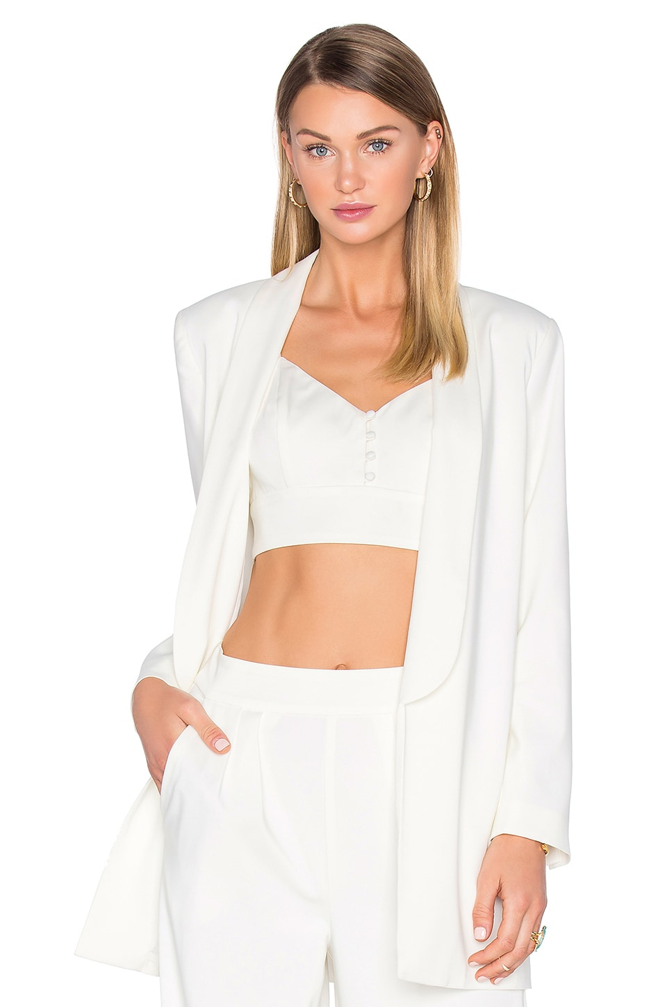 House of Harlow 1960 x REVOLVE Chloe Boyfriend Jacket in Ivory