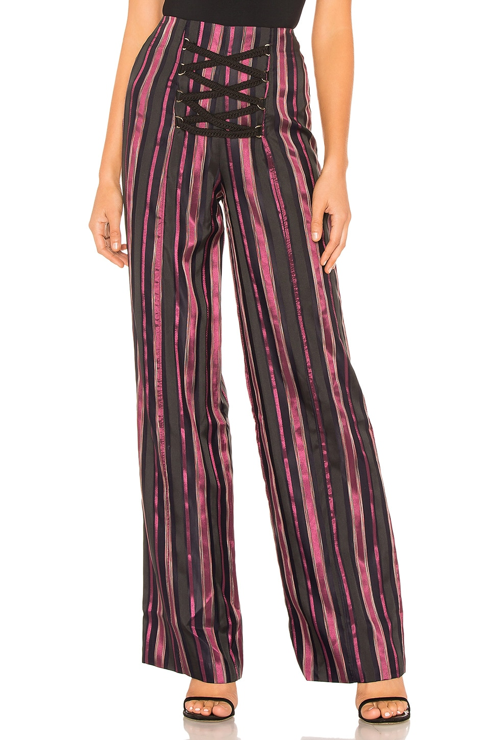 House of Harlow 1960 x REVOLVE Kitty Pant in Purple & Noir Stripe