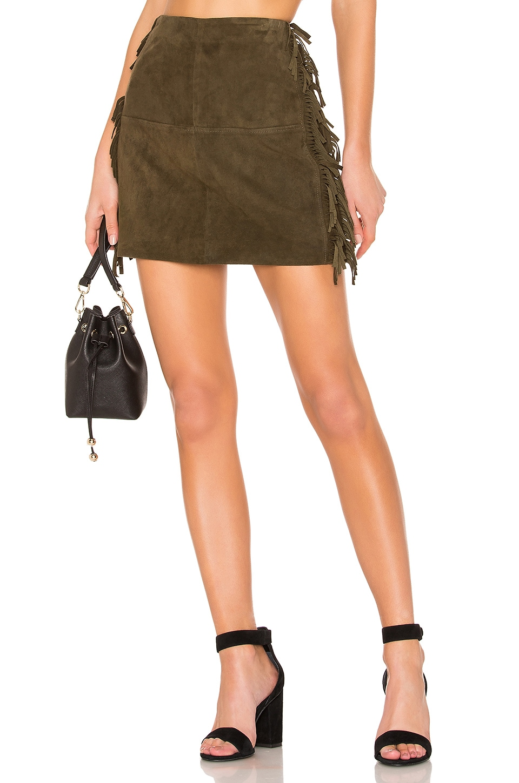 House of Harlow 1960 X REVOLVE Serafina Leather Mini Skirt in Olive
