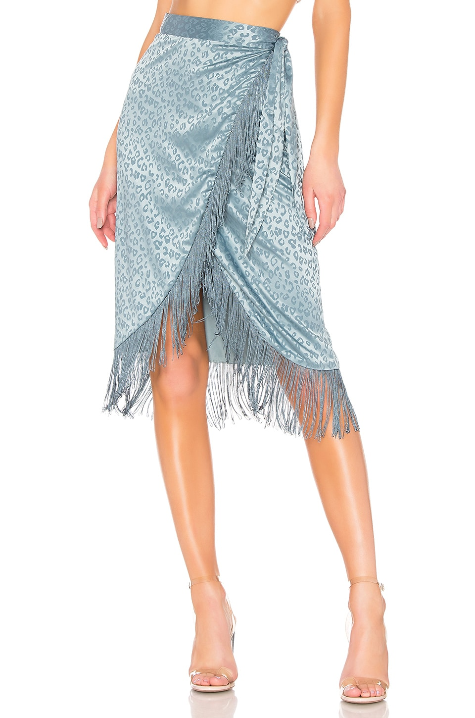 House of Harlow 1960 X REVOLVE Aldo Midi Skirt in Dusty Blue